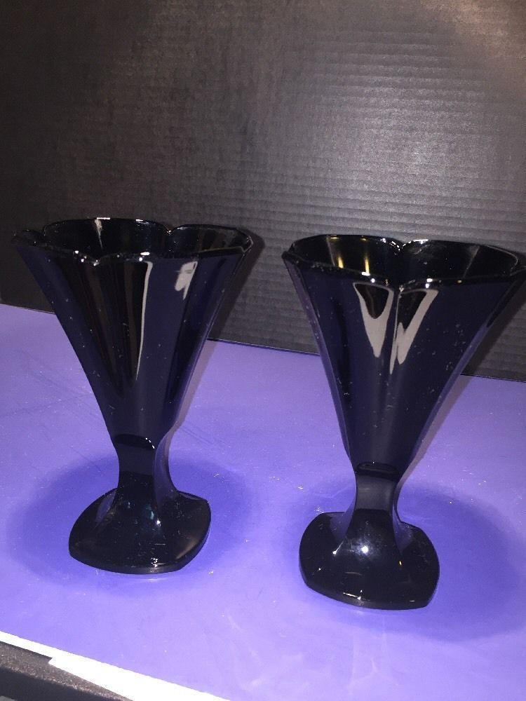 Vintage Black Glass Vase Stamped France Ebay Black Depression