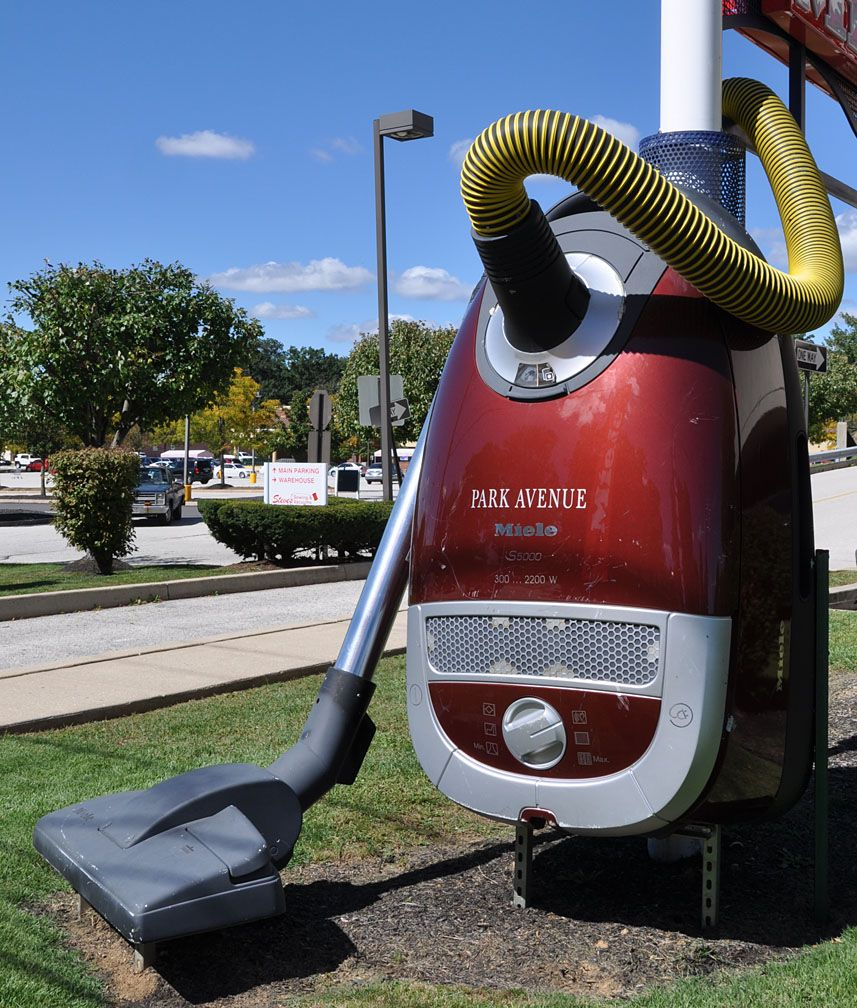 The Giant Vacuum In King Of Prussia Is Installed In Front Of Steve S Sewing Vacuum Center Vacuums Installation Vacuum Cleaner