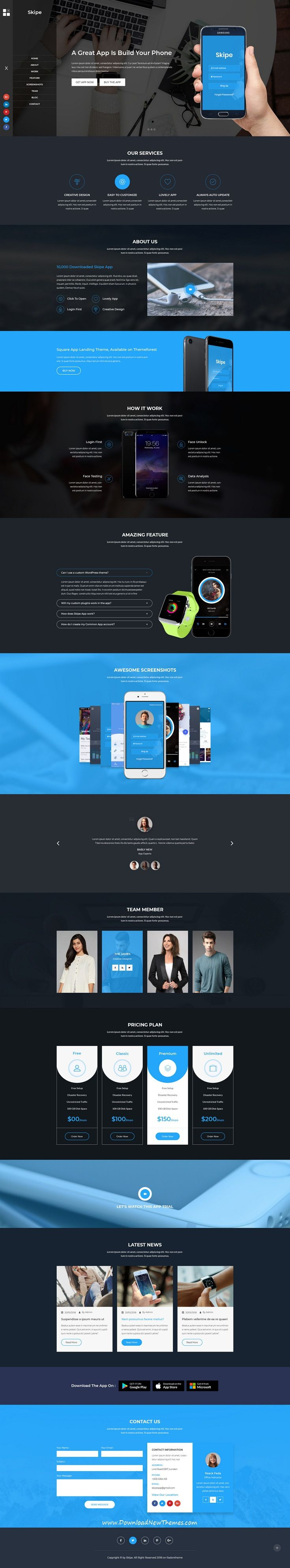 Skipe - Mobile App Landing Page PSD Template | Mobile app, App and ...