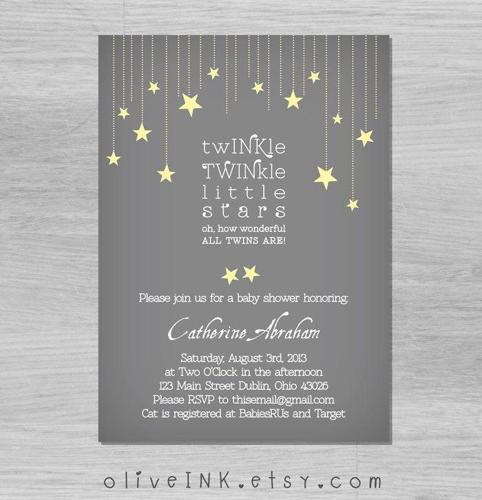 twinkle twinkle little star twins baby shower invitation | twinkle,