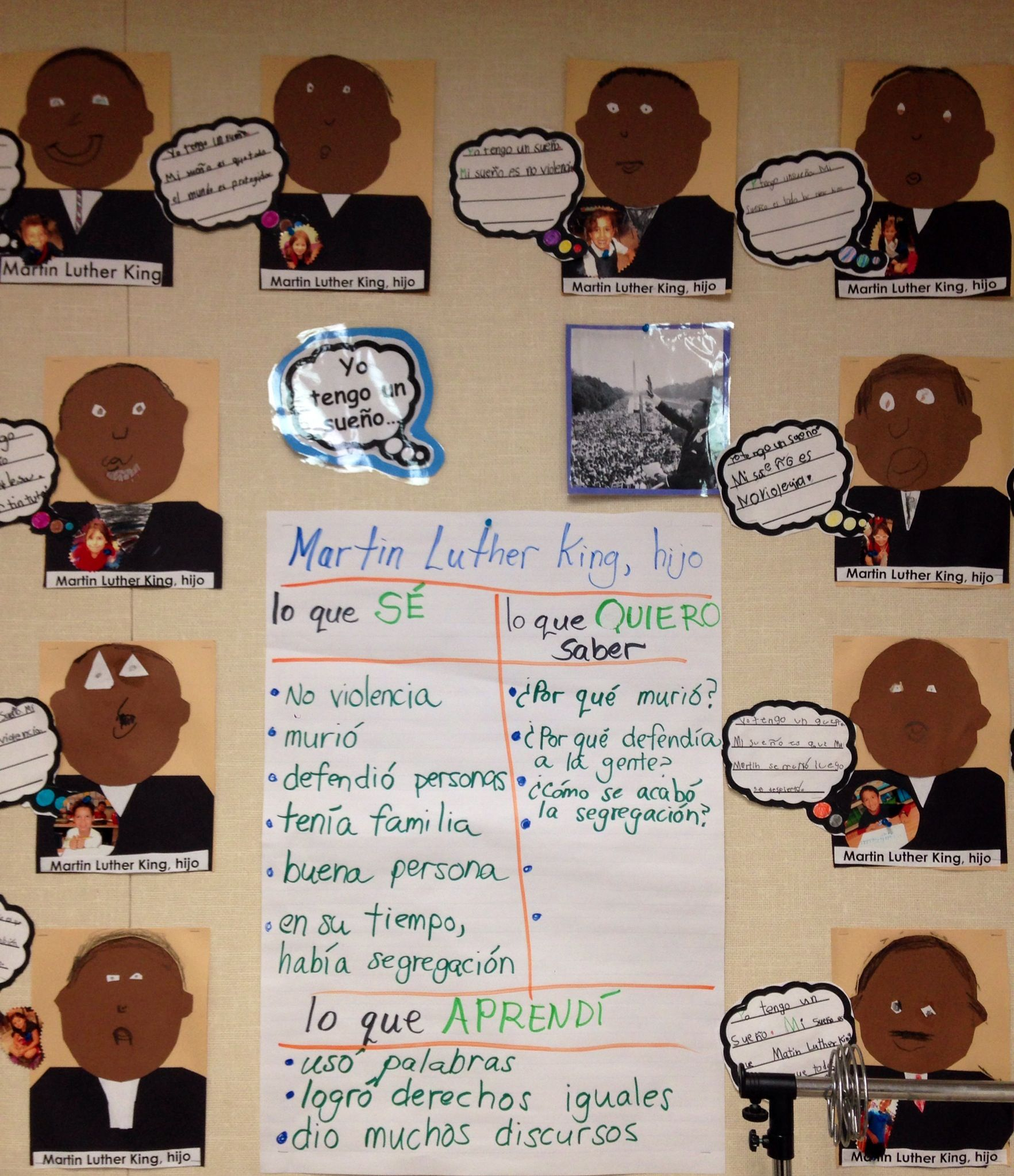 First Grade Dual Language Martin Luther King Jr Kwl Chart