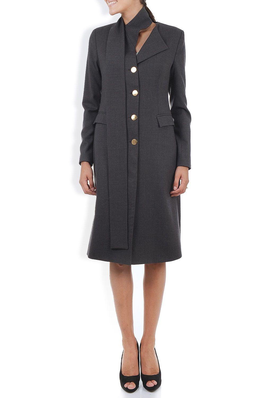 Palton stofa gri cu cordon-esarfa