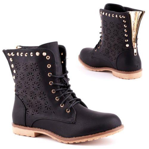 8261f55c05e843 Damen Boots Stiefel Stiefeletten Reißverschluss Nieten Schuhe gefüttert  Schnürer