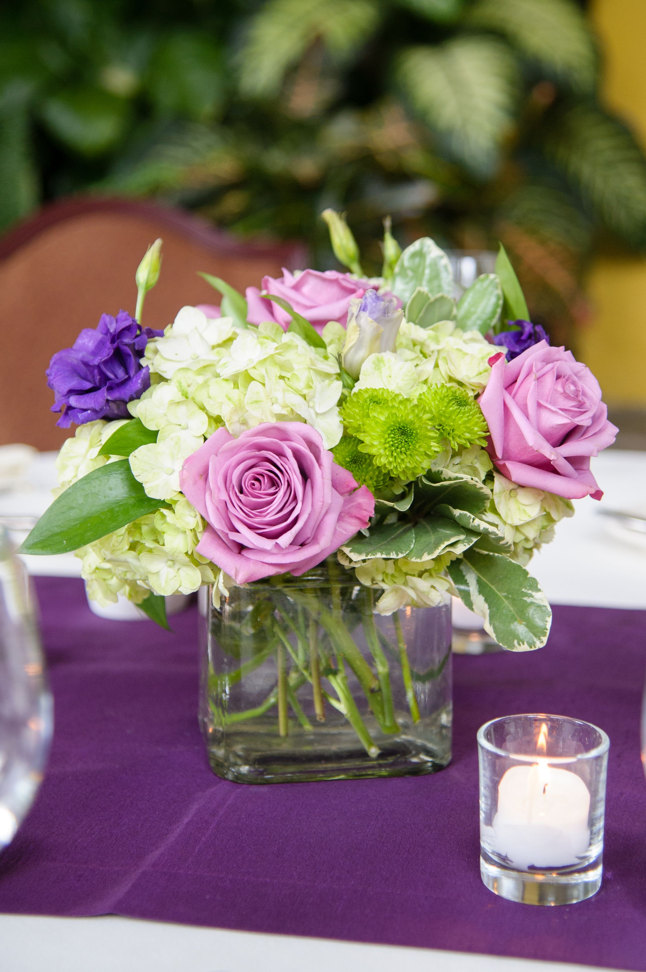 Small Green Ivory And Purple Centerpiece Purple Centerpieces
