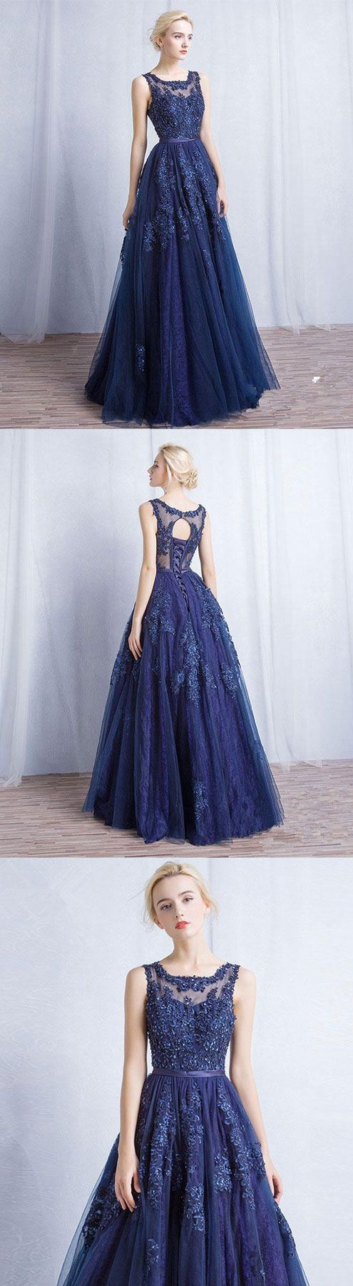 Dark blue round neck tulle lace applique long prom dress tulle