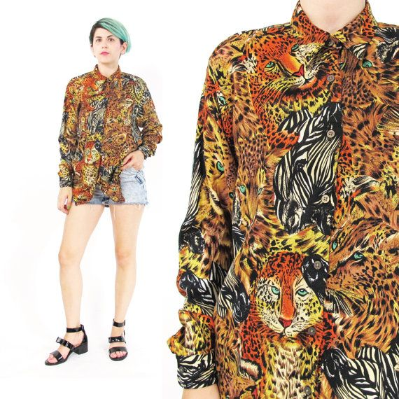 Vintage animal print leopard print oversized long sleeved blouse shirt