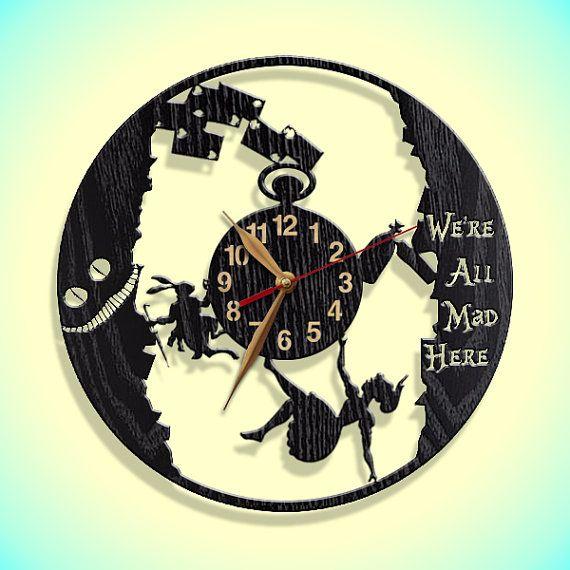 Wall Clock, Alice in Wonderland, Wooden clock 12inch(30cm), Wall Art ...