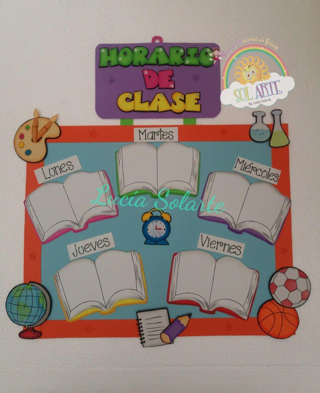 Horario Escolar En Fomy Decoración Aula De Preescolar Decoración Clase Guardería Horario Escolar