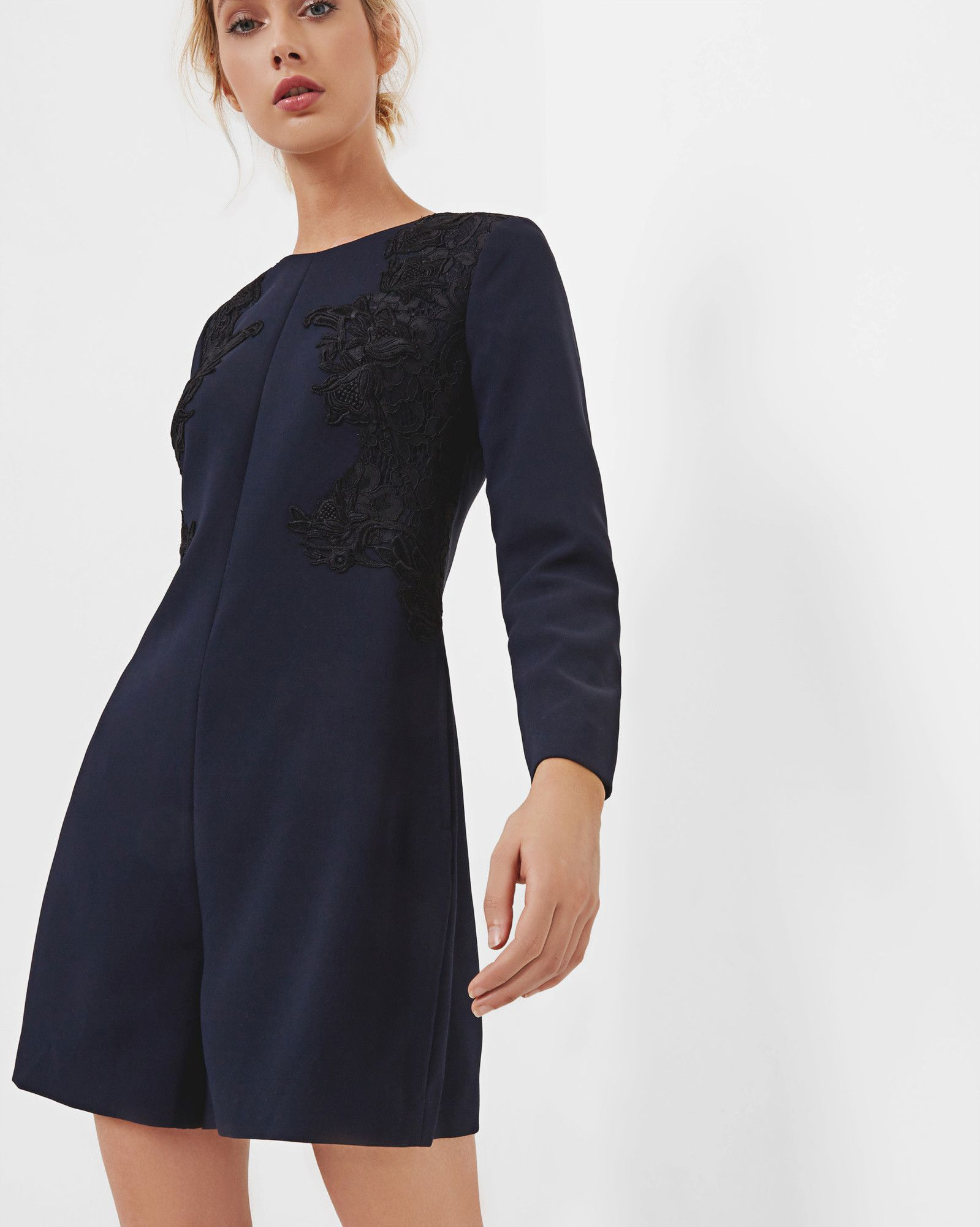 7f1193adbf08b8 Embroidered playsuit - Navy