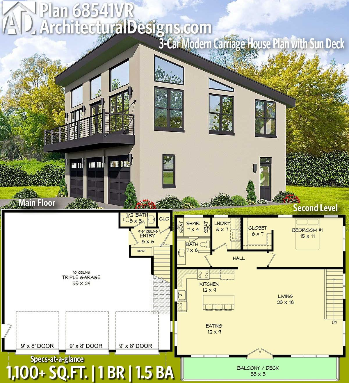 Plan 68541VR: 3-Car Modern Carriage House Plan With Sun