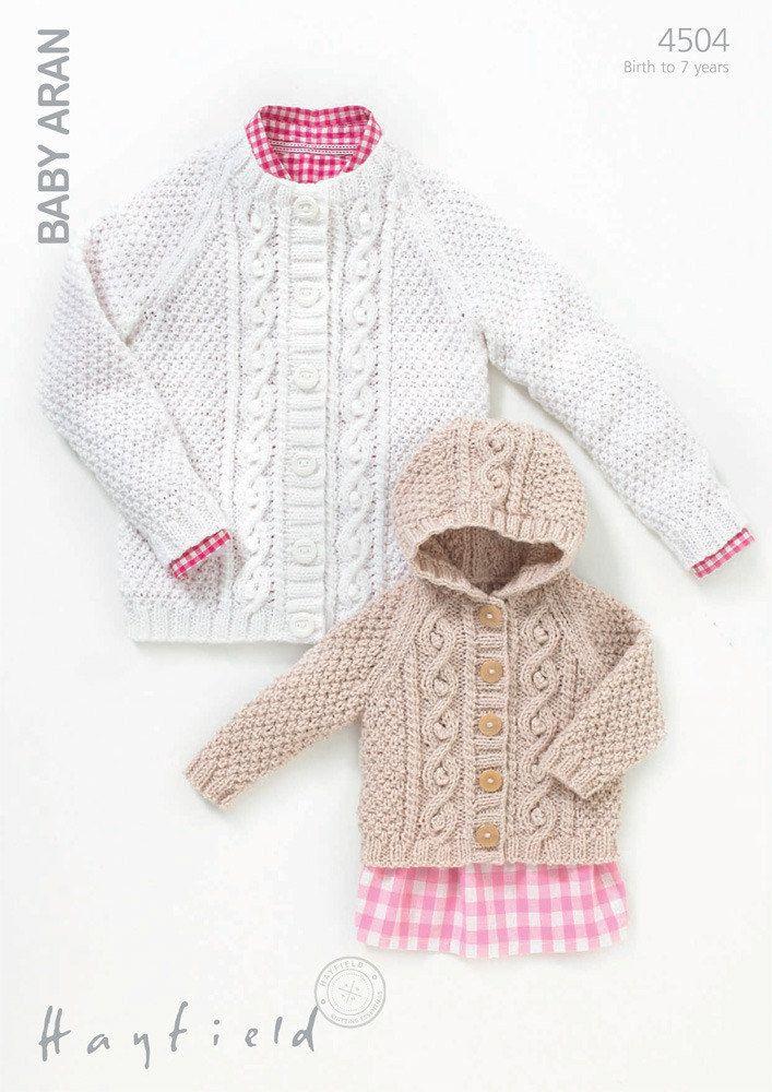 Cardigans in Hayfield Baby Aran - 4504 | Knitting patterns babies ...