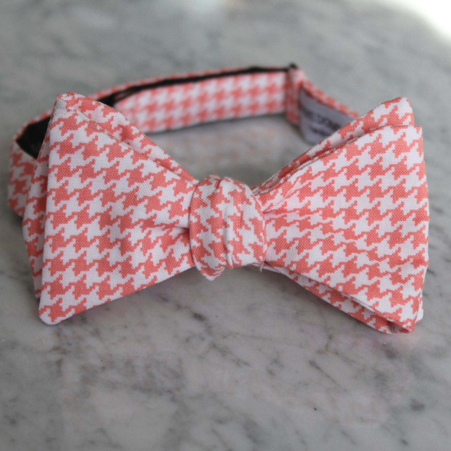 fcd5b1ea5ee9 Coral Hounstooth Bow Tie - Self tying - freestyle