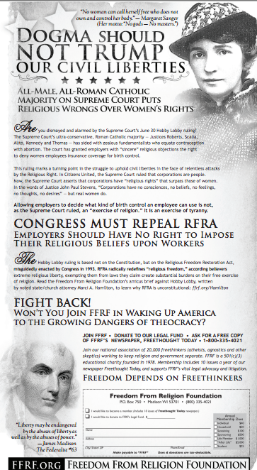 The FFRF's ad against the Hobby Lobby decision - Dogma must not trump Civil Liberties!