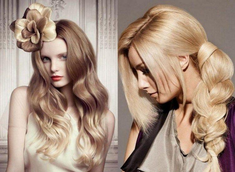 coiffure pour Noël - brushing ondulé et tresse latérale