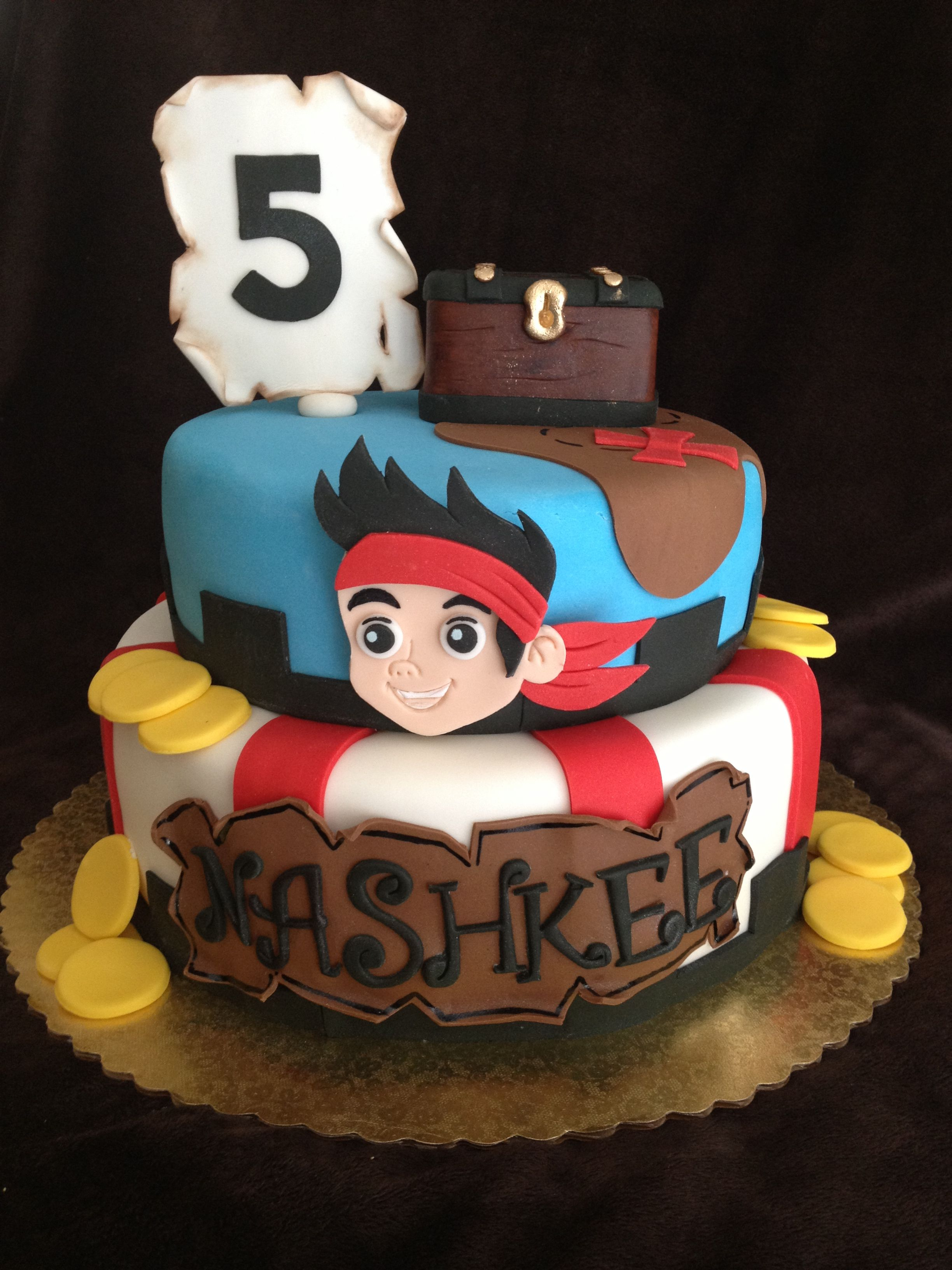 Remarkable Jake And The Neverland Pirates Cake Pirate Cake Pirate Birthday Birthday Cards Printable Trancafe Filternl