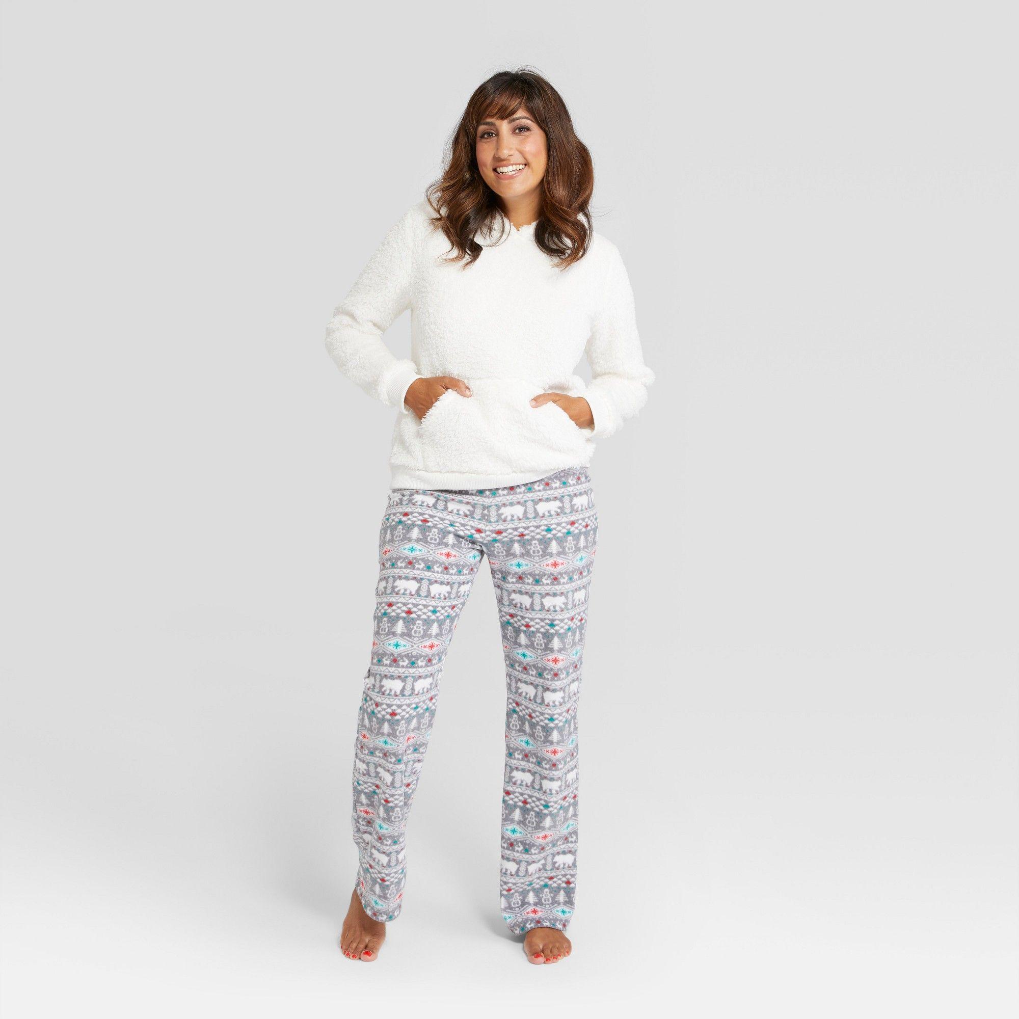 7fef16b9b4 Women s Holiday Fuzzy Bear Fair Isle Pajama Set - Wondershop White S ...