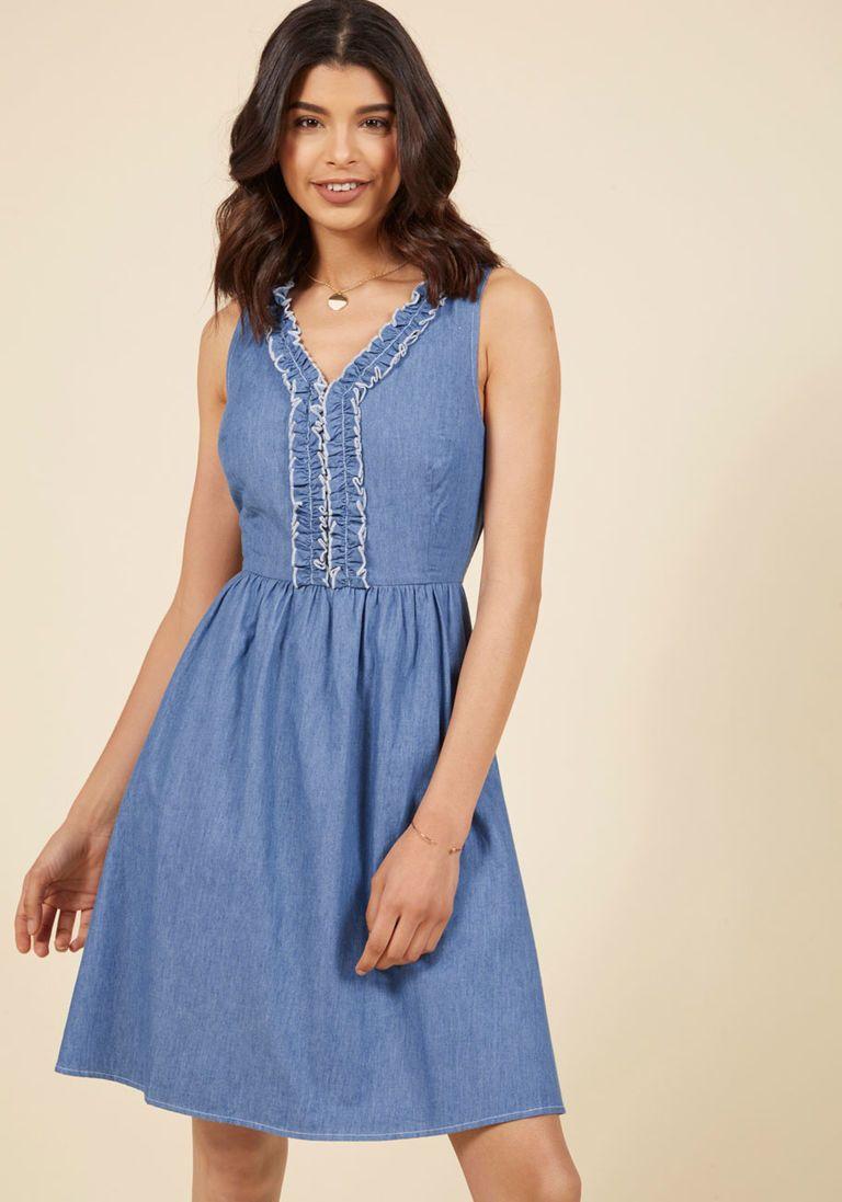 dff2290325915 Navy Dress, Striped Dress, Chambray Dress, Train Platform, Retro Dress,  Pretty