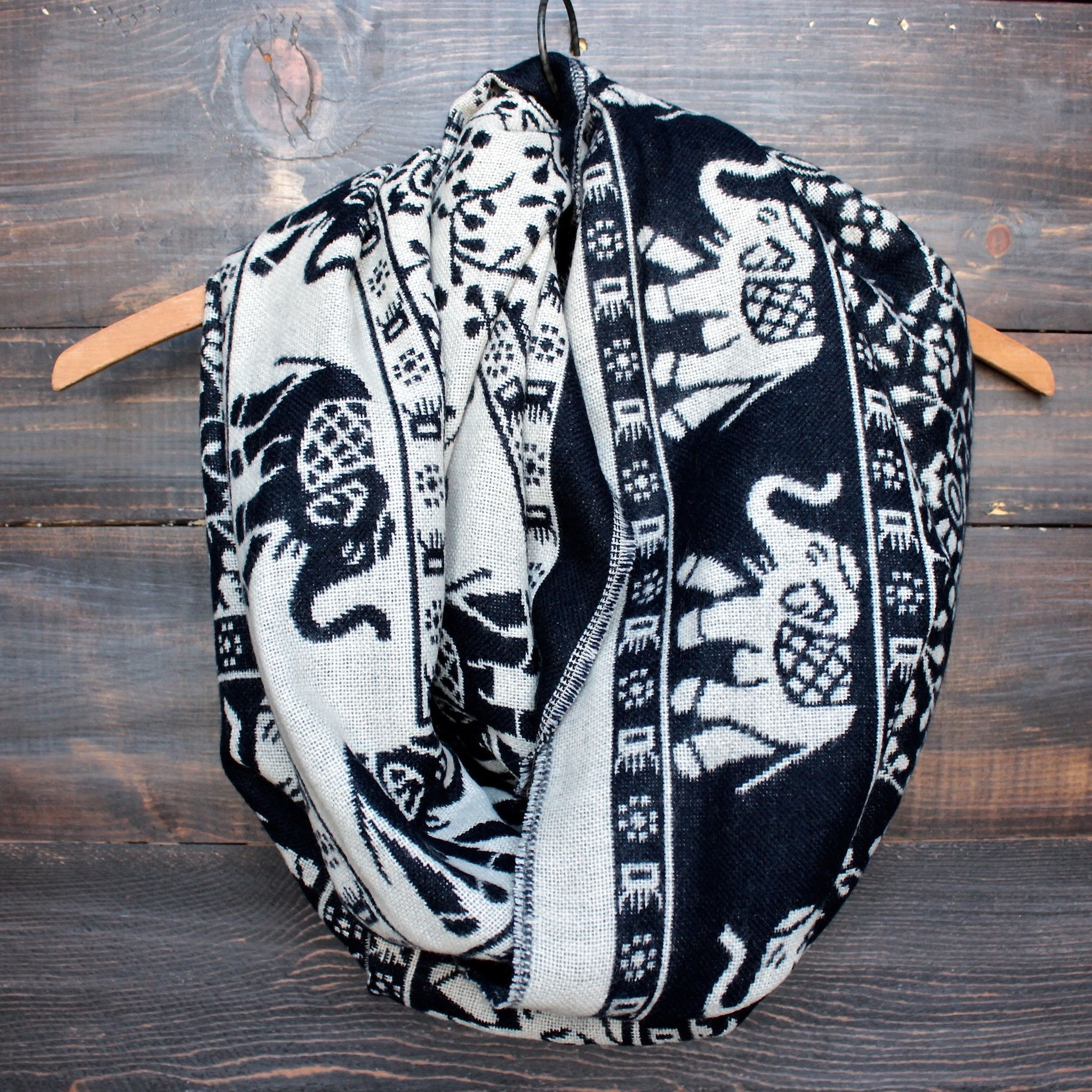 Geronimo Knitting Bali : Bali elephant print reversible knit scarf more colors