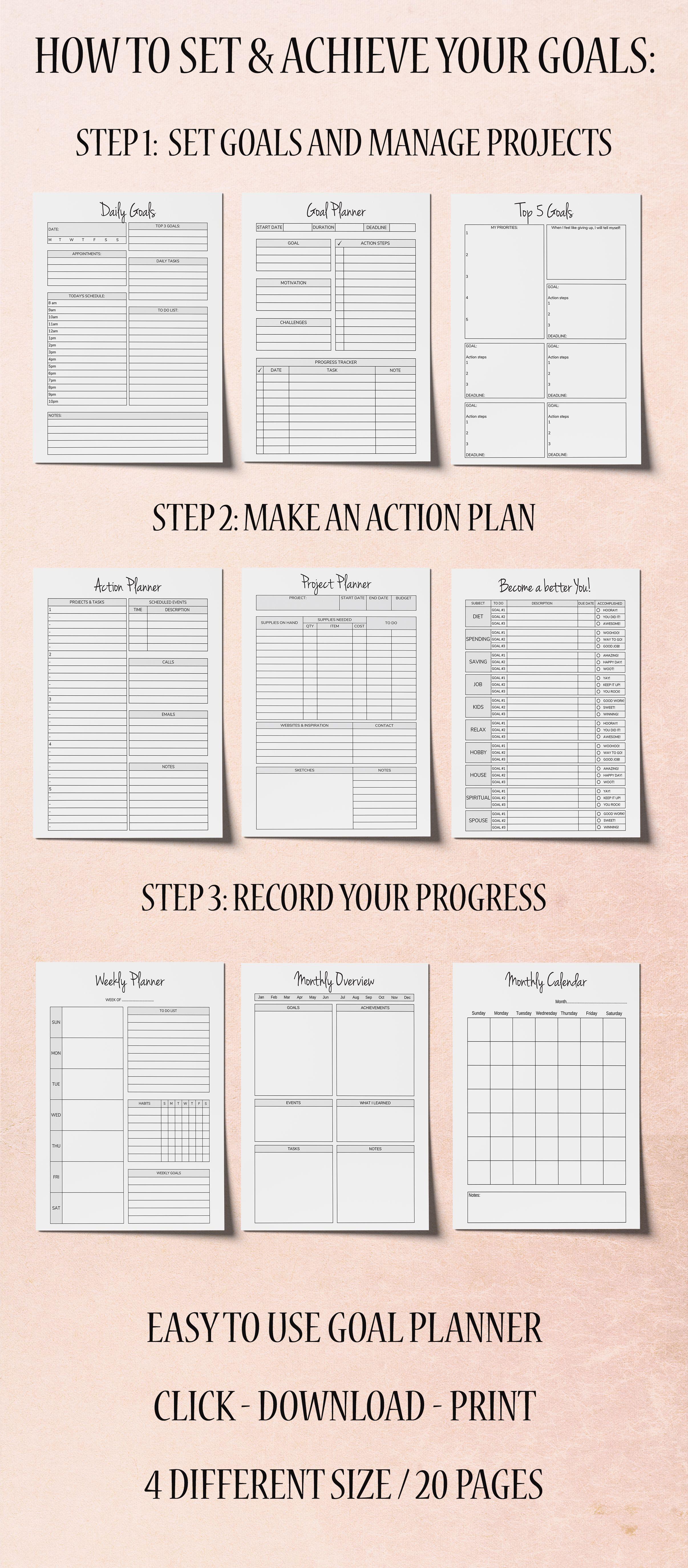 Goal Planner Printable Goal Worksheet Planner