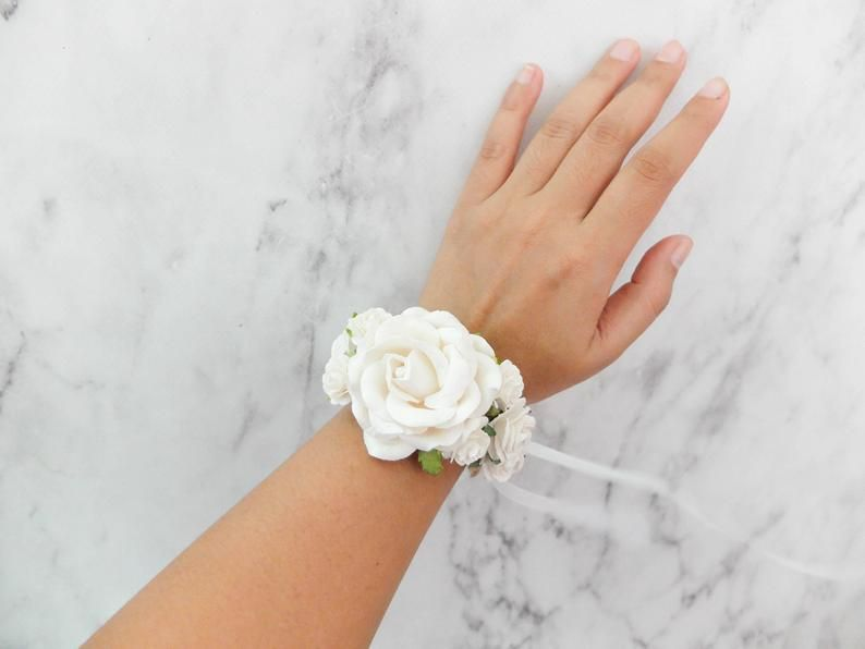 Perfect for Brides Bridesmaids Wedding Guests and Proms White /& Ivory Rose Flower Wrist Corsage with Rustic Rope Bangle