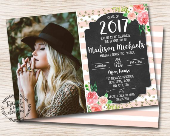 Fl Graduation Invitation Pink Gold Black Calligraphy Digital Pdf Invite Printable Invitations Diy Senior Pictures