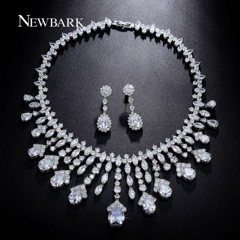 NEWBARK Gorgeous Luxury Bridal Jewelry Sets Poem of  Spring Top Quality CZ Tassel Necklace Flower Earrings Bijoux Accessories