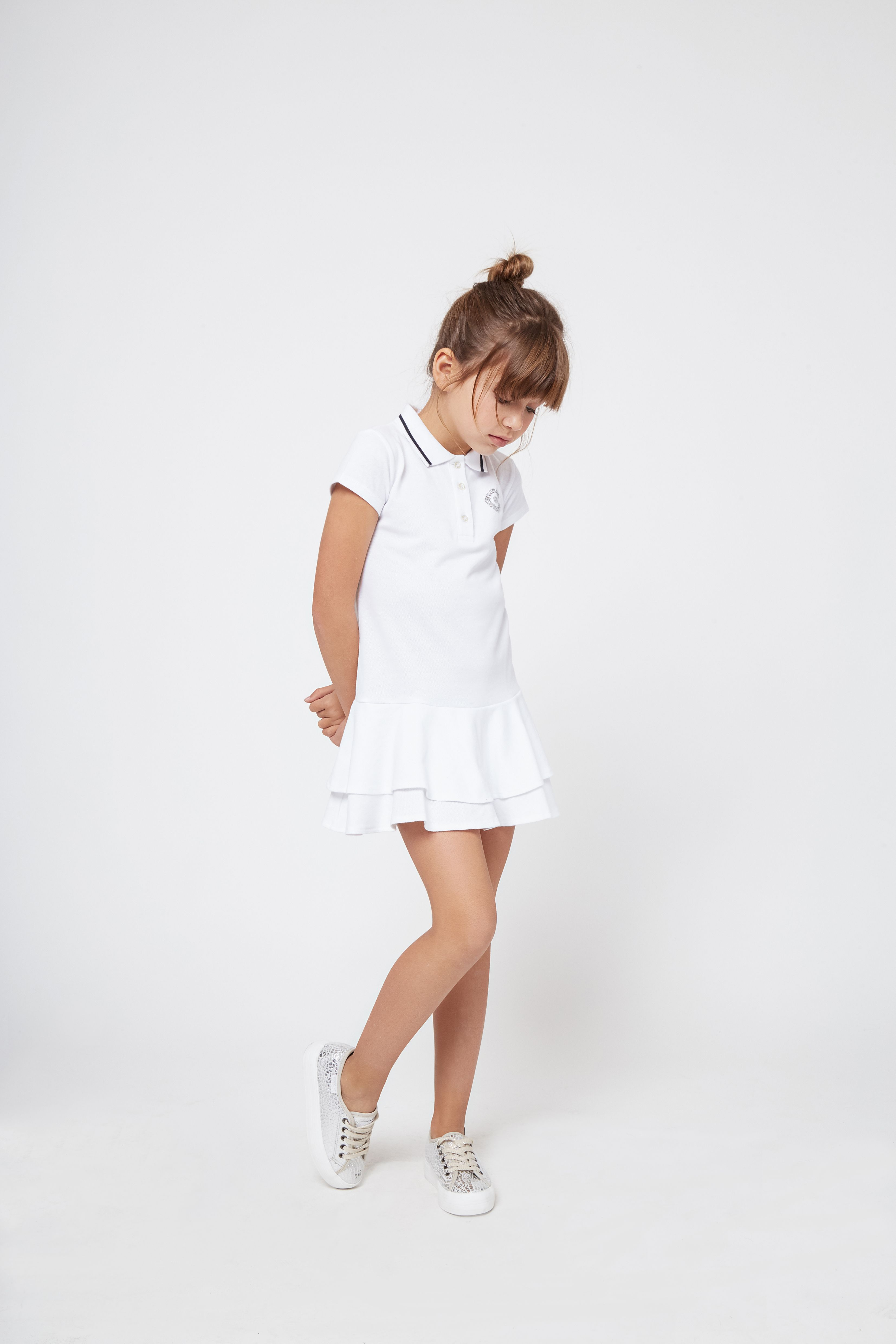 10b6aa0d84056 Vestido de Niña Polo Blanco Volante - Moda - Niña - Conguitos  kidsfashion   dress