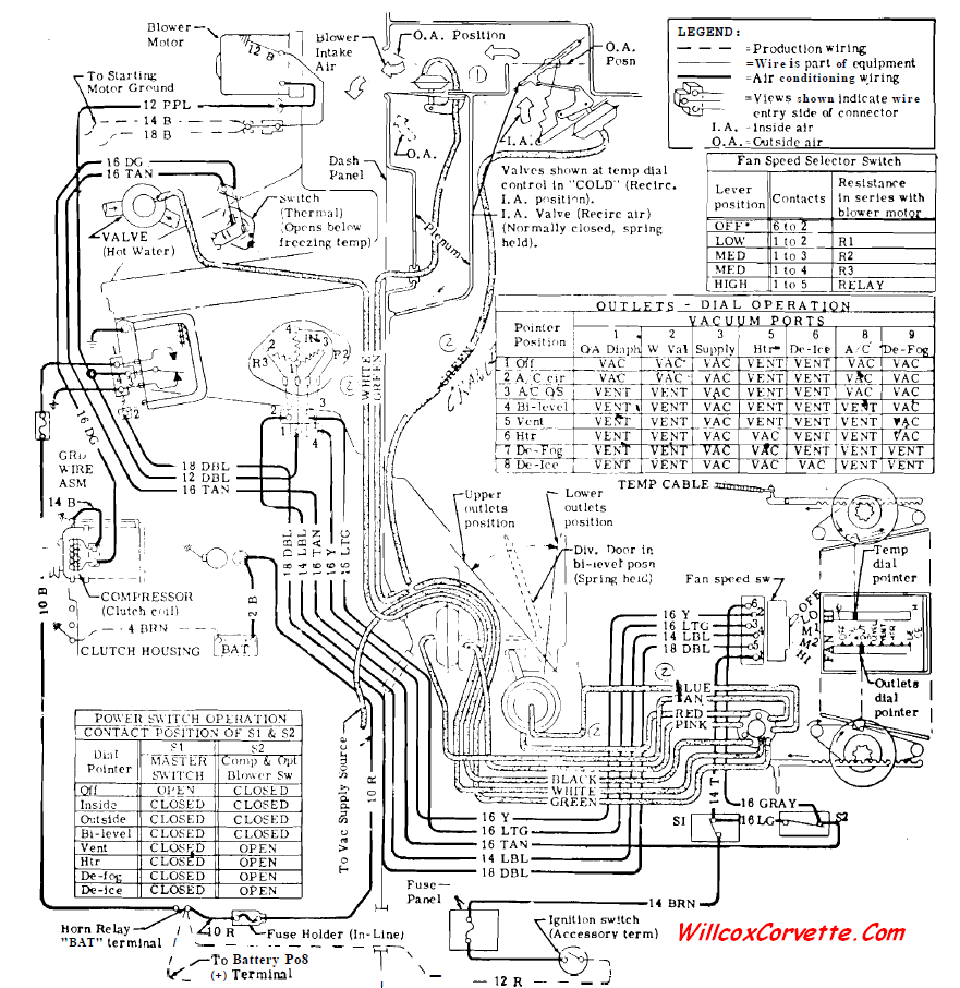 1969 Corvette Wiring Schematic Simple Diagram Options 1975 Beetle Heater And Ac Vacuum Electrical 881 1970