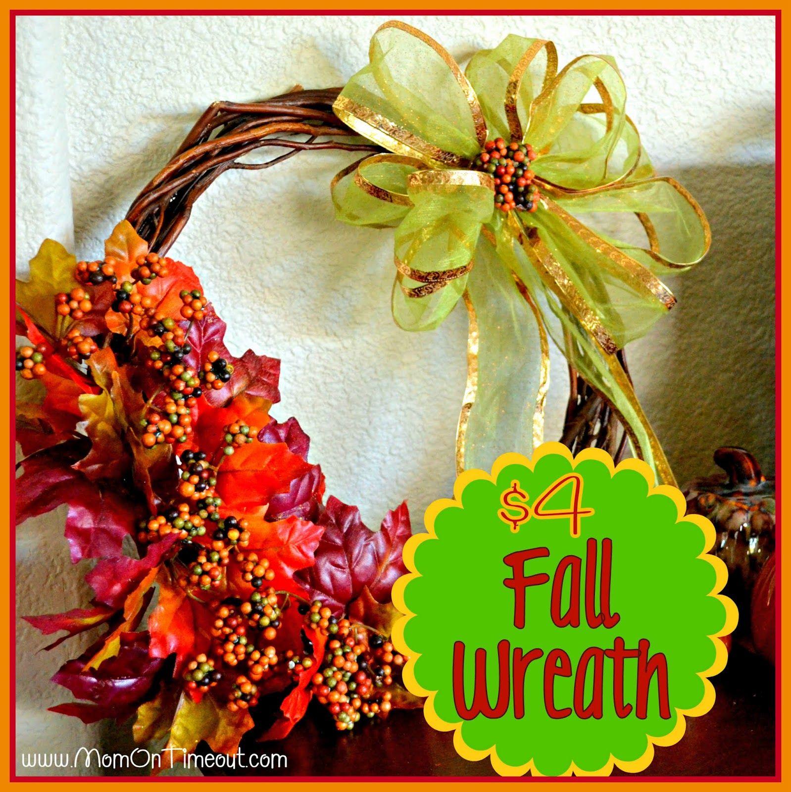 Mom On Timeout: $4 Fall Wreath {Dollar Tree Craft}