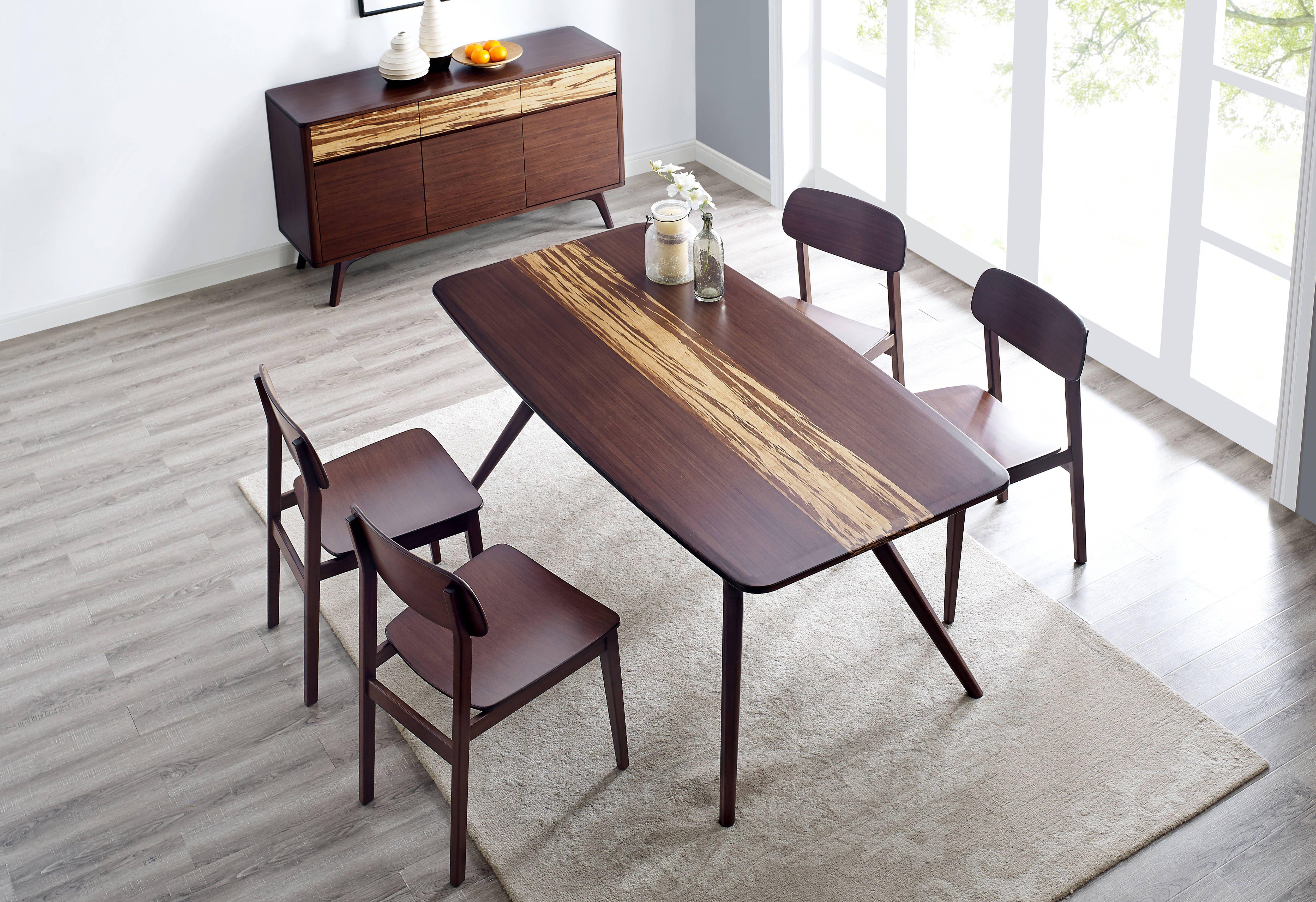 Azara Contemporary Sable Caramelized Bamboo Dining Room Set ...