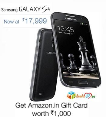 Samsung Galaxy S4 GT-I9500 @ Rs 17,999/- (FREE Amazon in Rs 1,000