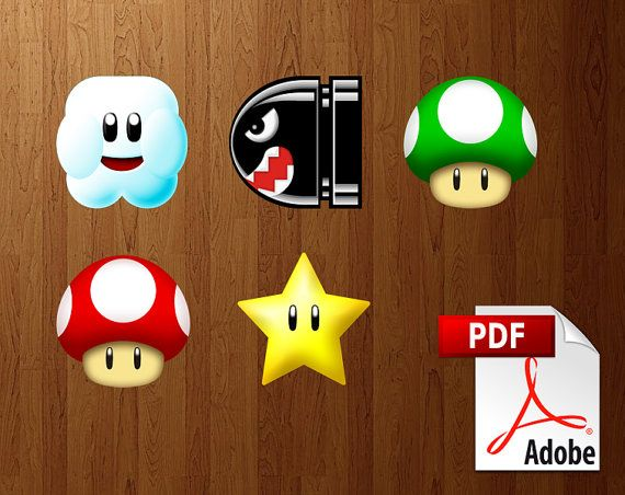 Super Mario Diy 5 Paper Party Decorations Printable Pdf