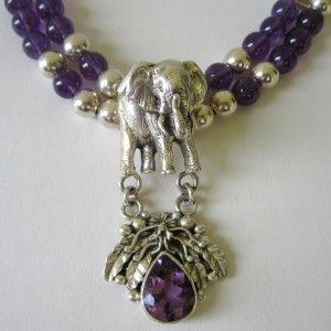 Carol Felley Sterling Silver Elephant Amethyst Necklace
