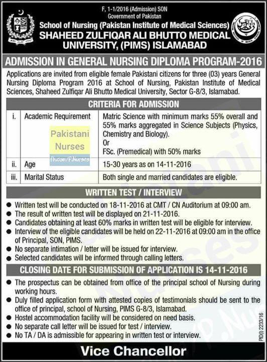 General #Nursing #Diploma #Admissions at #PIMS #Islamabad