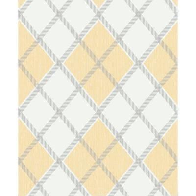 Graham Brown 56 Sq Ft Argyle Wallpaper 20 551 The Home Depot Geometric Wallpaper Gold Wallpaper Yellow Grey Wallpaper