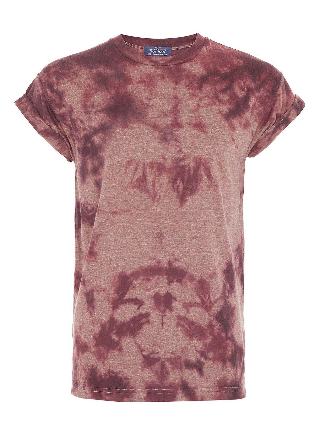 Burgundy tie dye tshirt topman price 2000 with