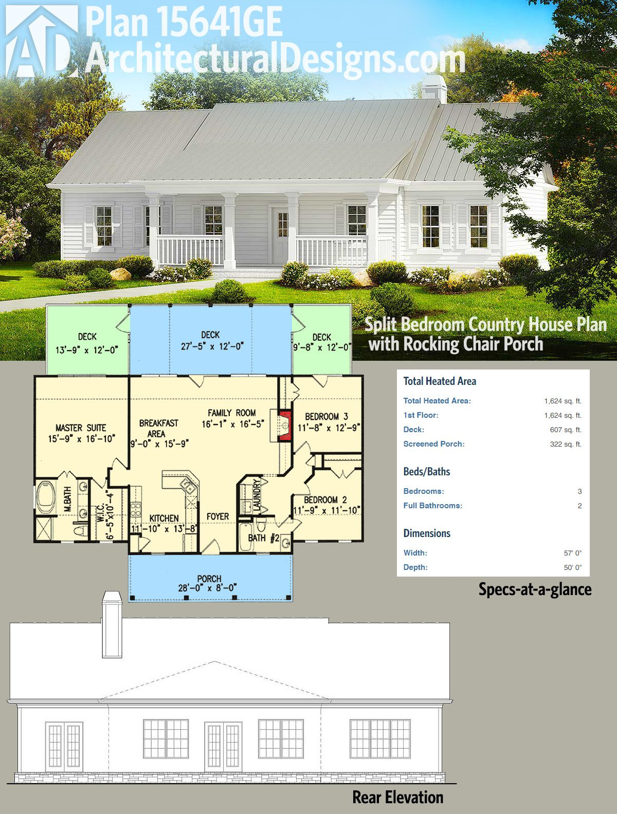 Architectural designs country house plan ge gives you beds in  split bedroom layout and great rocking chair front porch also cottage with outdoor rh pinterest