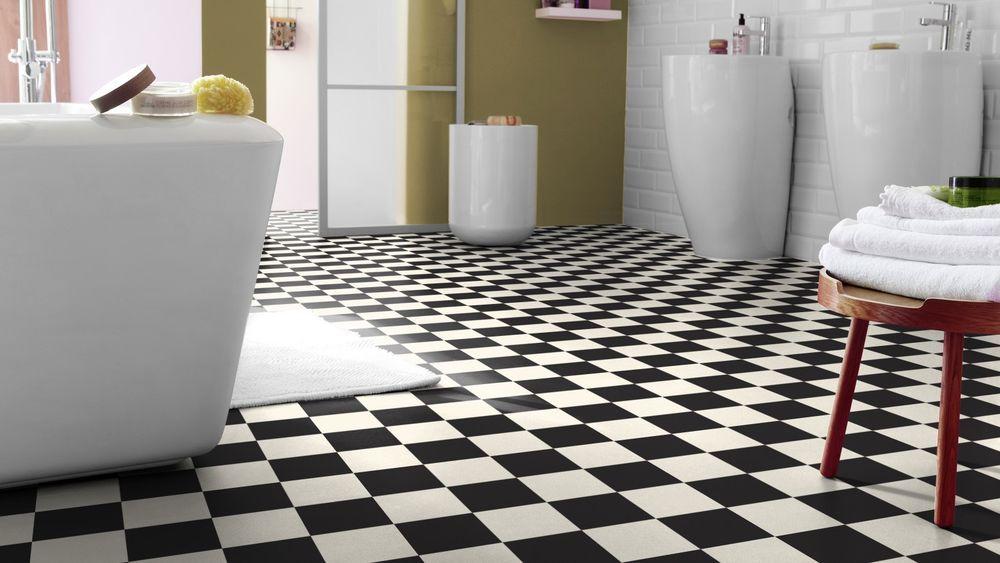 Pavimento in pvc dama bianco nero adatto per bagno spess mm
