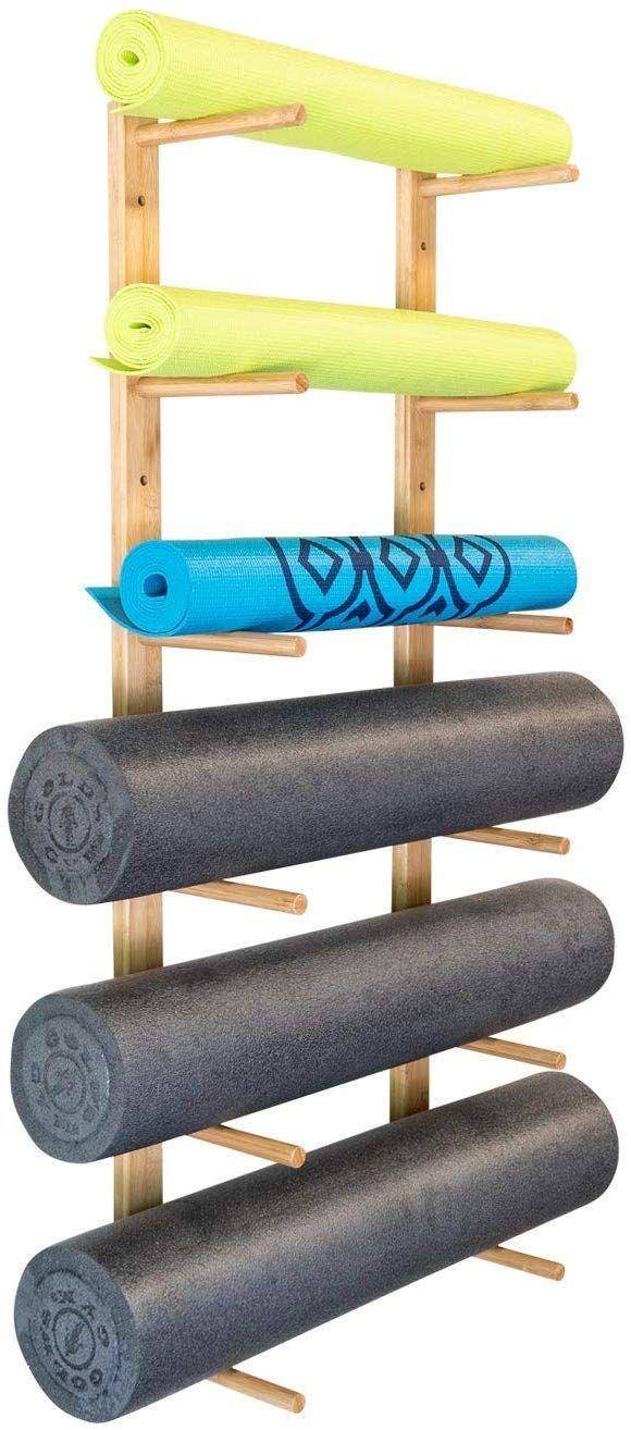Ultra Fitness Gear Premium Foam Roller and Yoga Mat Rack, Storage Shelf, Bamboo Construction, Mounti...