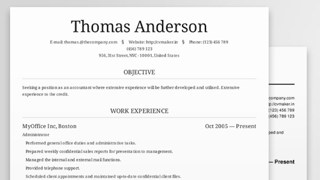 Cv Maker Creates Beautiful Professional Looking Resumes Online In