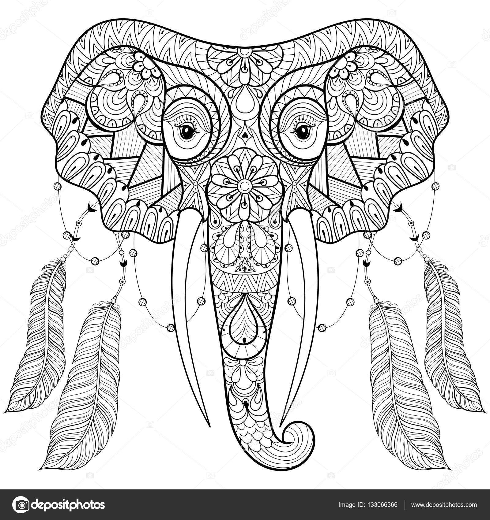 Descargar - Zentangle elefante indio con plumas de ave en un estilo ...
