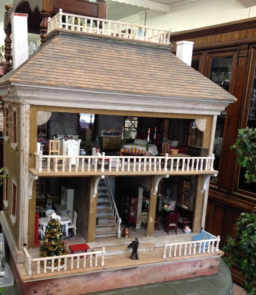 Enjoyable Large Antique 19Th Century Wooden Dollhouse With Extras Download Free Architecture Designs Scobabritishbridgeorg