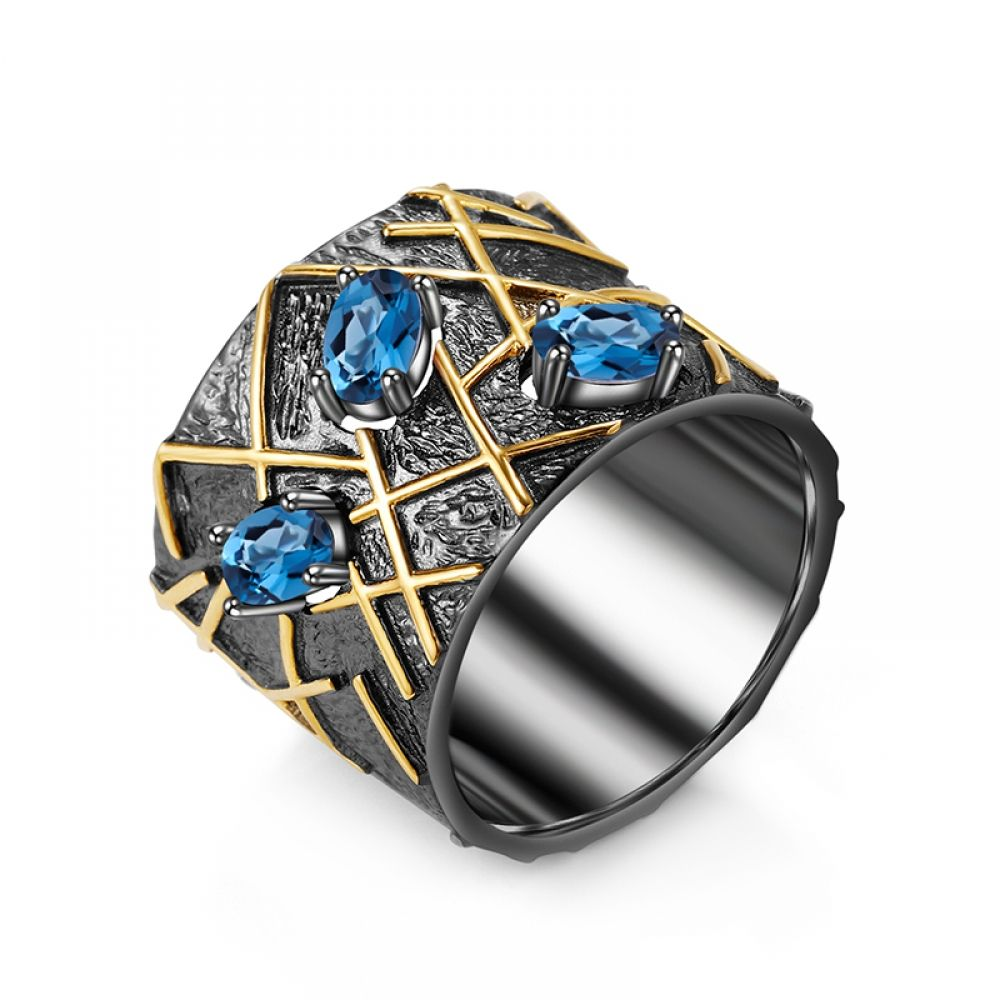 Details about  /925 Sterling Silver Natural Gem Stone Blue /& White Topaz Men/'s Ring Jewelry Us 8