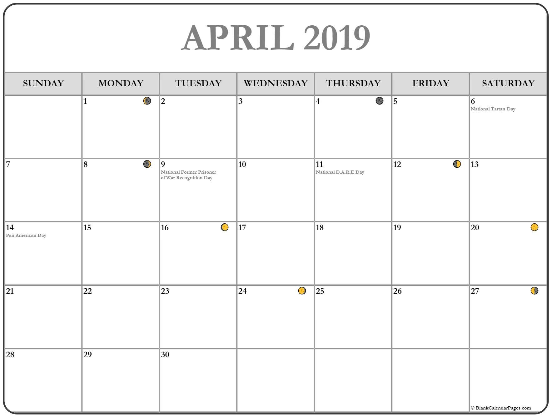 Moon Phases Calendar For April April