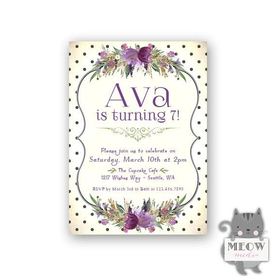 Purple Florals 7th Birthday Invitations For Girls Black And