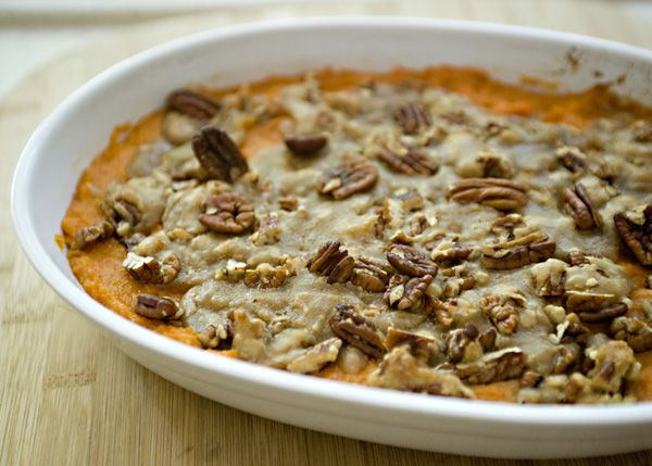 Sweet Potato Casserole with Pecan Topping recipe - I know that a lot of people think of sweet potato casserole with the little marshmallows on top, but I much prefer this pecan topping.  Give this a try this year, I promise that it will be the best sweet potato casserole that you have ever eaten. #sweetpotato #potato #pecan #thanksgiving
