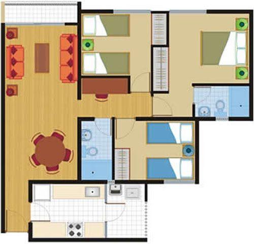 Planos de 81 y 86 m2 departamentos en venta en chorillos for Departamentos en planos