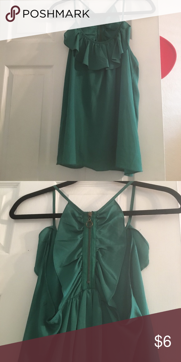 Green tank Green Tank razor back with zipper back. Super cute for work out just casual out Charlotte Russe Tops Blouses