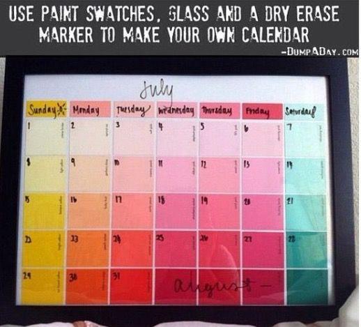 Paint swatch calendar DIY Projects Pinterest Paint swatch - sample school calendar