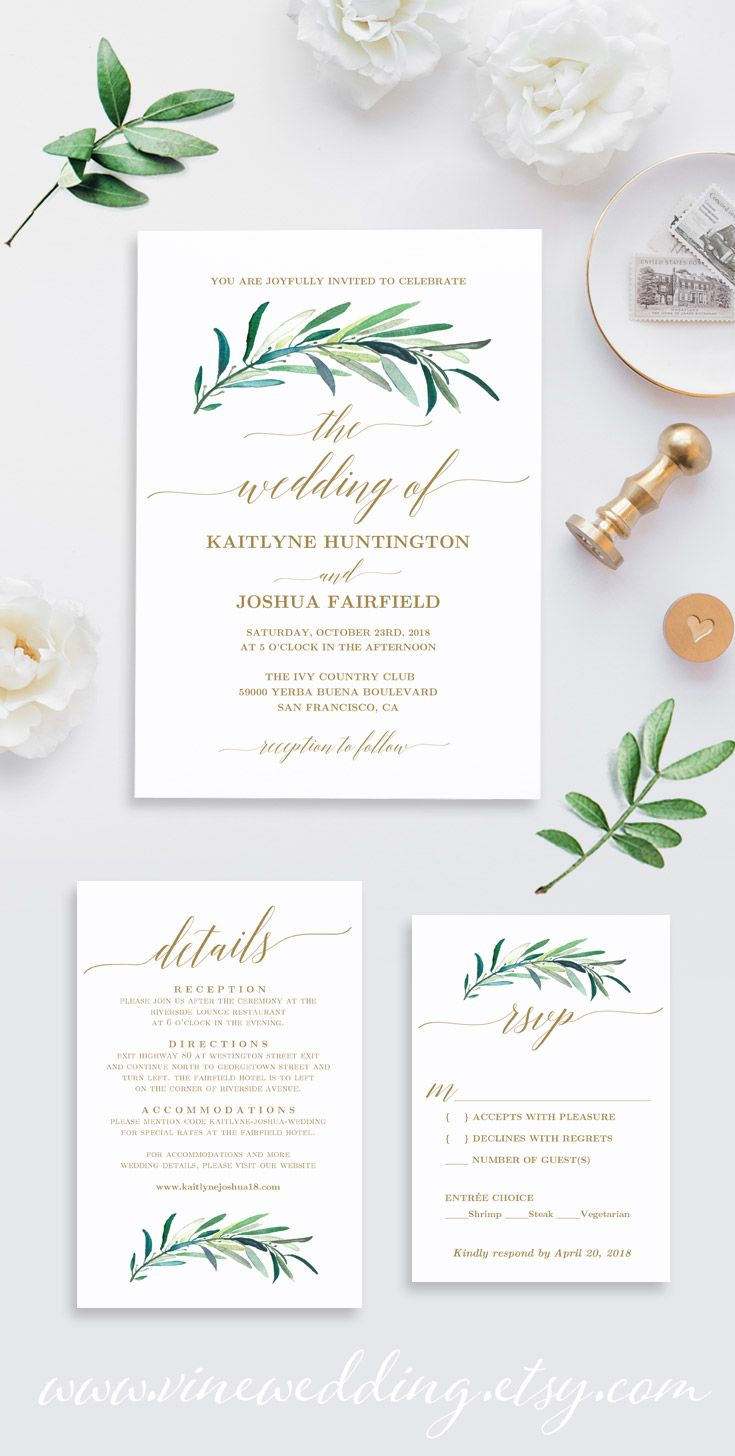 Greenery And Gold Wedding Invitation Template Weddinginvitations - Wedding invitation templates: hotel accommodations template for wedding invitations